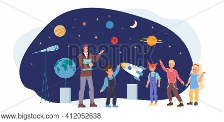 Cartoon Flat Happy Kids Characters At Astronomy Class In Planetarium.children Study Planets, Stars,
