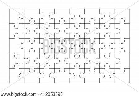 Set Of Black And White Puzzle Pieces Isolated On White Background Vector Illustration Jigsaw Puzzle