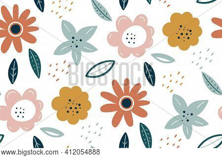 Spring Texture. Multicolored Flowers On A White Background. Vector Easter Pattern. Scandinavian Styl