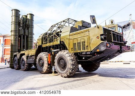 Samara, Russia - May 8, 2016: Russian Anti-aircraft Missile System (sam) S-300 In Combat Position