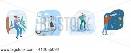 Set Of Vector Cartoon Flat Characters Looking Into Distance-new Idea Search, Future Vision, New Begi