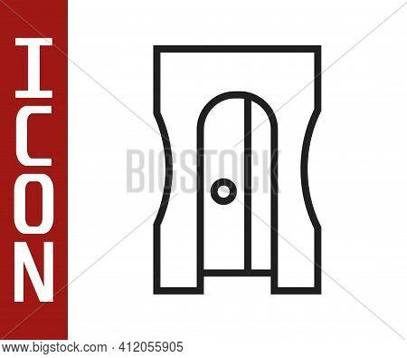 Black Line Pencil Sharpener Icon Isolated On White Background. Vector Illustration
