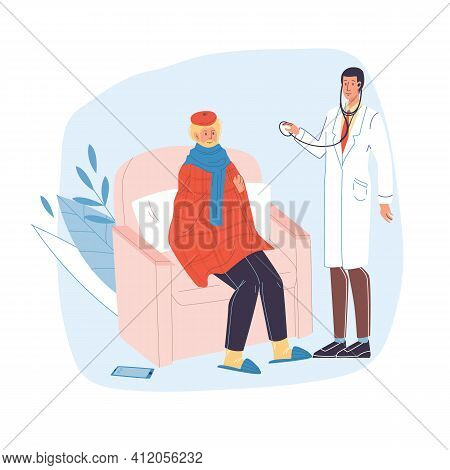 Vector Cartoon Flat Patient, Doctor Characters.physician Character Examines Sick Person Man In Chair