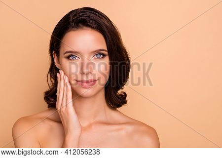 Close Up Photo Beautiful Amazing She Her Model Lady Smearing Facial Lotion Healthy Curls Hairdo Idea
