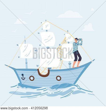 Vector Cartoon Flat Character Sail On Ship Looking Into Distance From Bow - New Idea Search, Future