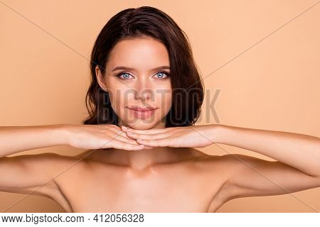 Close Up Photo Beautiful Amazing She Her Lady Show Hygiene Facial Skin Healthy Condition Laser Metho