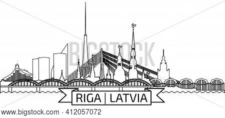 Riga Old Town Skyline During Sunset Time