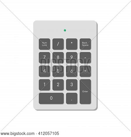 Wireless Numeric Keypad For Computer Simplified Only With Numbers And Power Indicator. A Modern Imag