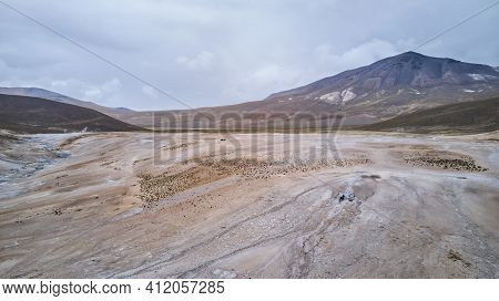 Aerial Of A Vast And Desolate Landscape Of A Hot Spring In High Altitude In The Highlands Of The And