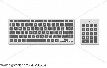 A Set Of Computer Keyboards, Basic And Numeric With Symbols, Gray. A Modern Image Of A Computer Keyb