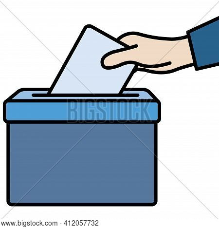 Voters Hand Putting Envelope In Ballot Box