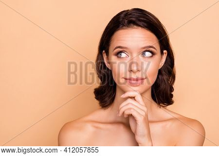 Close Up Photo Beautiful Amazing She Her Wondered Lady Touch Chin Look Side Empty Space Healthy Idea