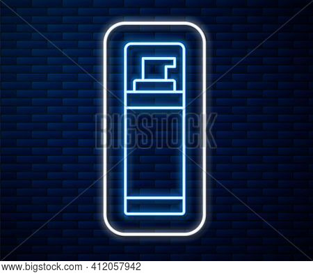 Glowing Neon Line Shaving Gel Foam Icon Isolated On Brick Wall Background. Shaving Cream. Vector