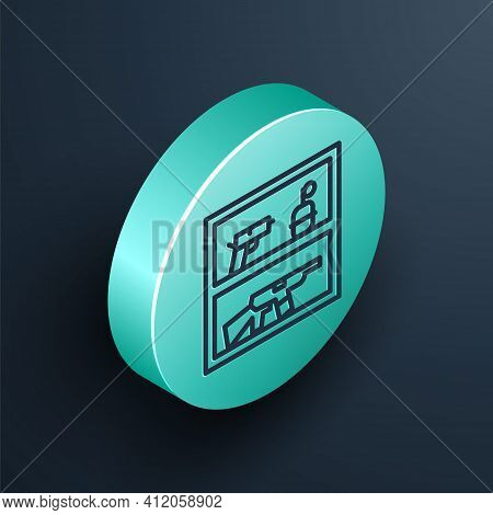 Isometric Line Hunting Shop With Rifle And Gun Weapon Icon Isolated On Black Background. Supermarket