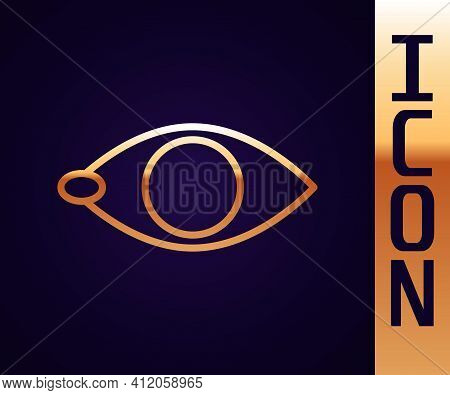 Gold Line Blindness Icon Isolated On Black Background. Blind Sign. Vector