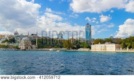 Istanbul, Turkey - October 6, 2019: View On European Side Of Bosphorus Strait Coastline In Istanbul,