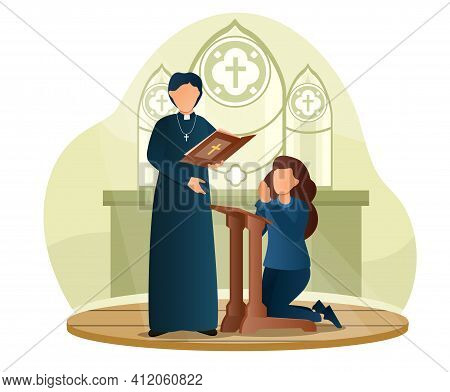 Female Character Is Standing On Her Knees And Making A Confession To Priest. Male Priest Is Standing
