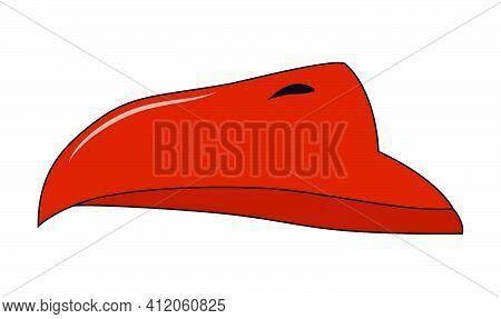 Beak Of Bird Vector. Cartoon Illustration Isolated On White.