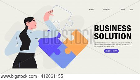 Businesswoman Assembling Together Jigsaw Puzzle Pieces. Concept Of Brainstorming, Project Planning A