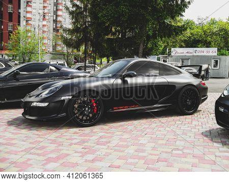 Kiev, Ukraine - May 14, 2011: Black Supercar Porsche 911 Turbo Gemballa Avalanche Gtr 800 Evo-r In T