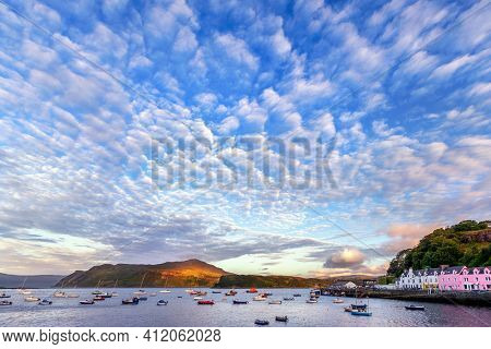 view on Portree Harbour before sunset, Isle of Skye, Scotland