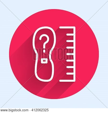 White Line Square Measure Foot Size Icon Isolated With Long Shadow. Shoe Size, Bare Foot Measuring.