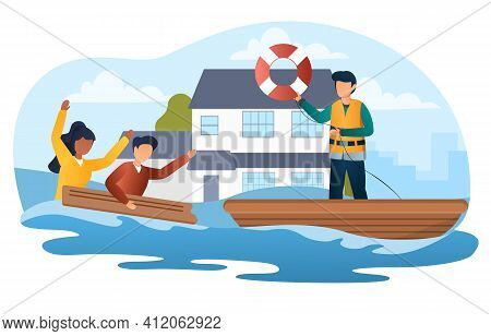 Male Character Is Saving People In The Flood. Scared People In Flooded Suburb Street. House Floating