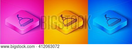 Isometric Line Cherry Cheesecake Slice With Fruit Topping Icon Isolated On Pink And Orange, Blue Bac