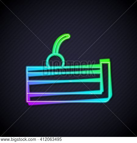 Glowing Neon Line Cherry Cheesecake Slice With Fruit Topping Icon Isolated On Black Background. Vect