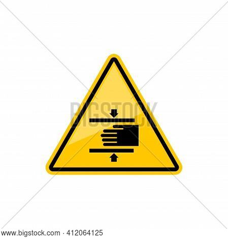 Beware Crushing Hand In Machine Warning Accident Sign Isolated Yellow Triangle Icon. Vector Danger O