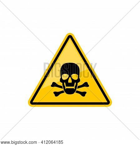 Death Warning Sign Isolated Yellow Triangle With Skull And Crossed Bones. Vector Warns Of Danger Sym