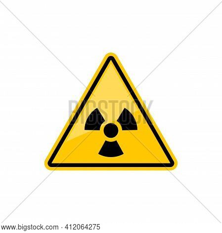 Radiation Hazard Sign In Yellow Triangle Isolated Icon. Vector Radioactivity Warning Symbol, Caution