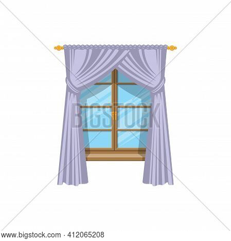 Drapery Curtains On Cornice At Wooden Window Isolated Icon. Vector Drapes Or Shades, Home Interior A