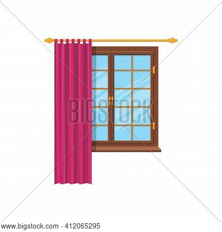 Curtains On Metal Cornice, Modern Clothing On Windows Isolated. Vector Silk Tulle Or Shades, Home De