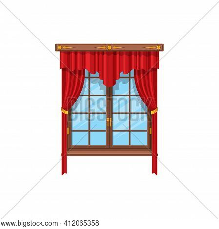 Curtains With Rods And Valances, Vertical Shutters In Venetian Style Isolated Red Velvet Curtains. V