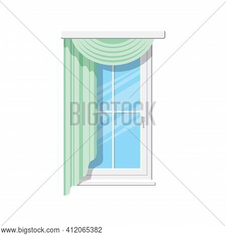 Venetian Or Roman Curtains Isolated Draperies On Window. Vector Home Or Office Interior Element, Win