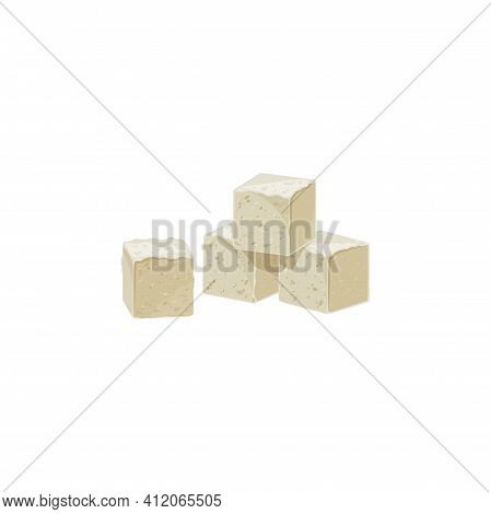 Raffinated Sugar Tea Ingredient Isolated Icon. Vector Four Cubes Of Sugar, Tasty Sweet Food. Brown O