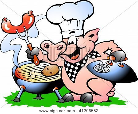 Hand-drawn Vector Illustration Of An Chef Pig Standing And Making Bbq