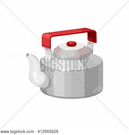 Retro Tea Pot With Red Handle Isolated Kettle With Hot Drink. Vector Teapot With Cap, Tea-kettle Of