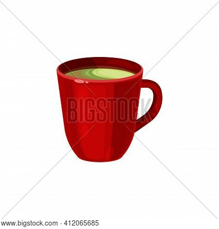 Red Ceramic Cup Of Green Or Black Tea Isolated Icon. Vector Glossy Mug With Handle, Kitchenware Obje
