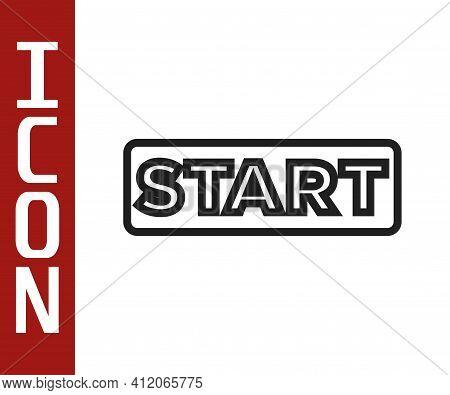 Black Line Ribbon In Finishing Line Icon Isolated On White Background. Symbol Of Finish Line. Sport