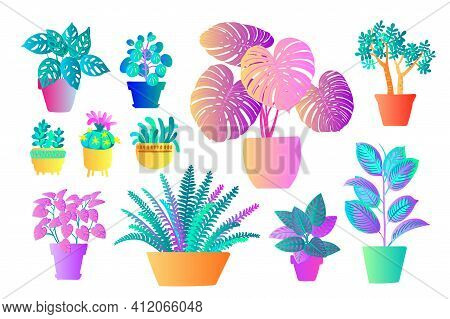 Neon Tropical Plants And Flowers In Pots. Vector Color Sketch On A White Background. Ultraviolet Pin