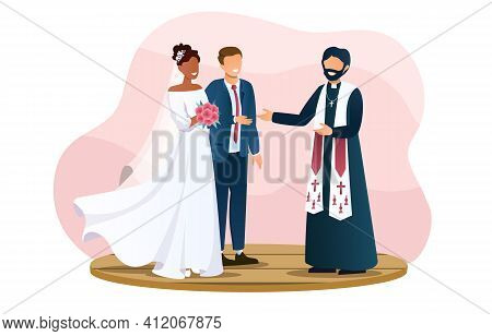 Cute Wedding Couple And The Priest Are Standing Outdoors. Two Lovers Are About To Get Married. Smili