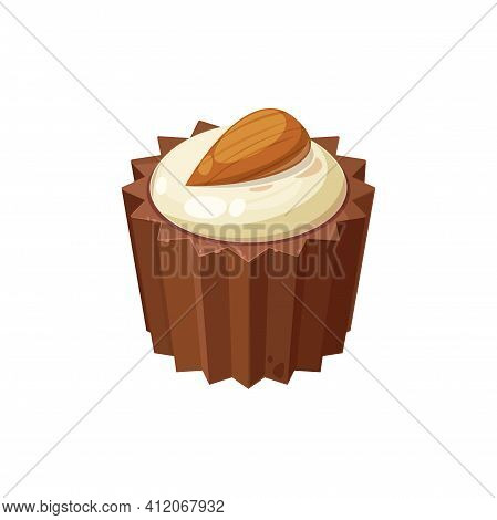 Choc Or Choccy Candy Pf Brown And White Chocolate Topped By Almond Nut Isolated Delicious Dessert. V