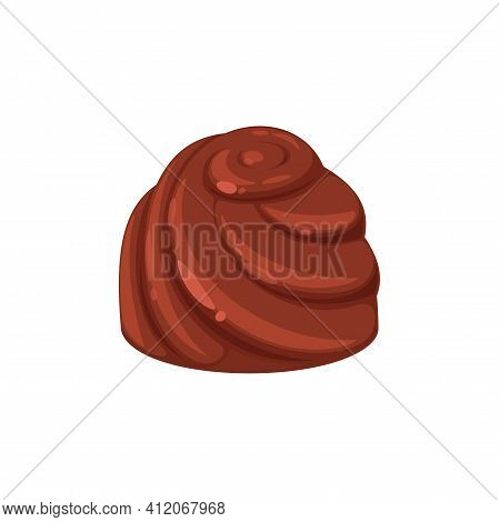 Choco Sweets Isolated Chocolate Candy With Swirls. Vector Sweet Confectionery Food, Brown Dessert Wi