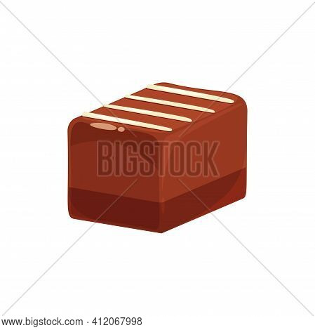 Rectangle Chocolate Candy Isolated Sweet Food. Vector Tasty Milky Choco Candy, White Sugar Stripes O