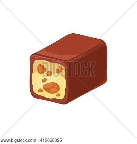 Cut Chocolate Candy With Nuts Isolated Tasty Praline Sweets. Vector Cocoa Candy With Almond Or Hazel