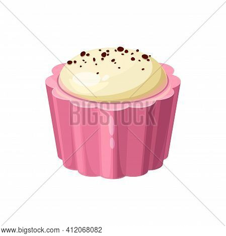 Tasty Candy In Shape Of Cupcake Isolated Pink Tasty Chocolate Treat With White Glaze. Vector Milk Or