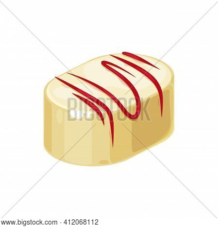 Candy In White Glaze And Red Caramel Topping Isolated Tasty Confectionery Snack. Vector Sweet Holida