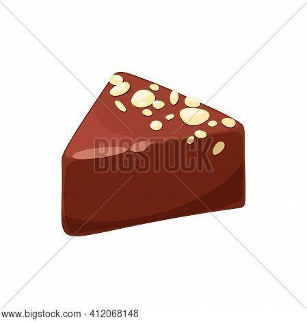 Triangle Praline Candy With Pieces Of Nut Isolated Sweet Food Dessert. Vector Luxury Chocolate Sweet